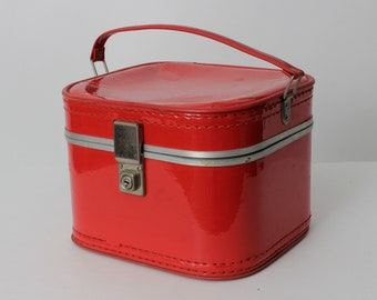 Vintage 70s Suitcase Red Case Bag Small Travel Tote Blue Hard Shell - 70's Retro Handbag Purse