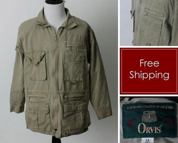 Vintage 90s Orvis Jacket Men's Coat Green Fish Hun