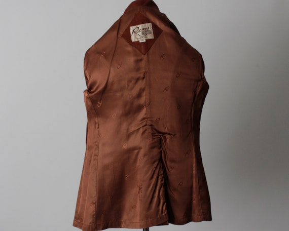 Vintage 70s Women's Leather Coat Brown Soft Remy … - image 7