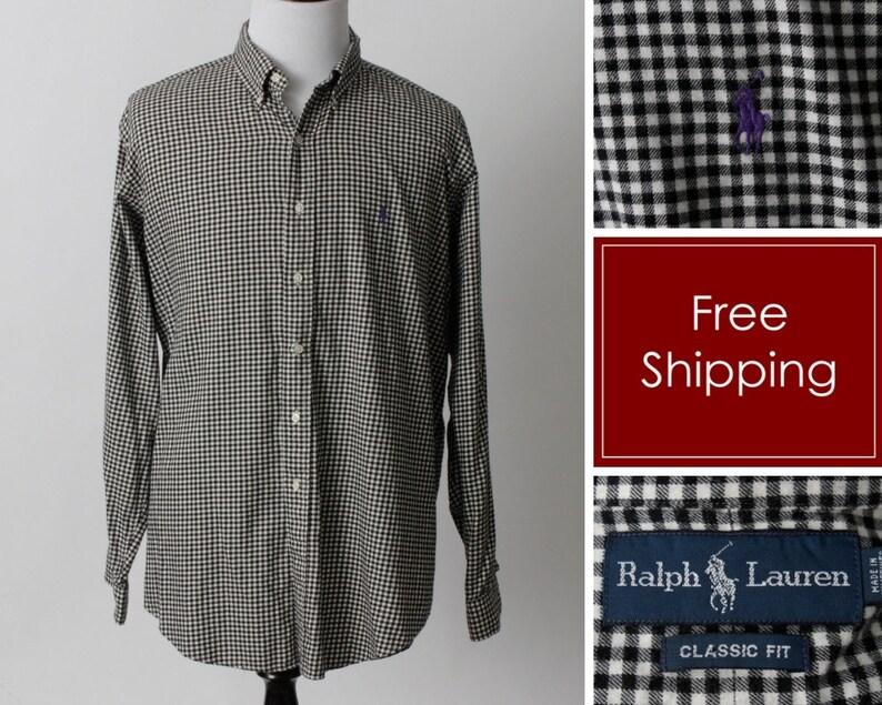1eb95357 Vintage Men's Shirt Ralph Lauren Polo Gingham Black White Checker Long  Sleeve Blue Button Down - 90s Retro Extra Extra Large XXL 2XL 2X
