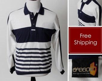 Vintage 80's Shirt Men's Stripe Blue White Grandpa Sasoon Pocket Long Sleeve Deadstock With Tag - Retro 80's Medium M
