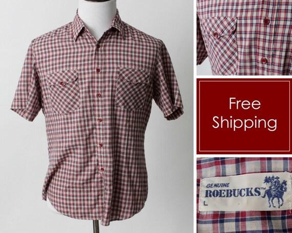 Vintage Men's Shirt Sears Roebuck Roebucks Checker