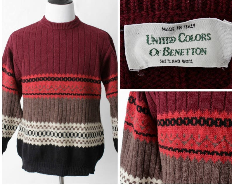 40008304405 Men s Vintage Wool Sweater United Colors of Benetton 90s