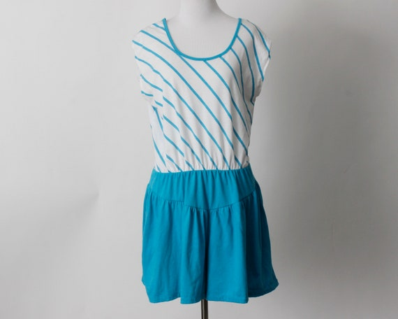 Vintage 80s Romper Women's Blue White Stripe Romp… - image 1