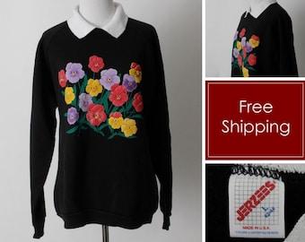 Vintage 90s Sweater Women's Sweatshirt Floral Flower Collar Black - 90's Retro Womens' Medium M