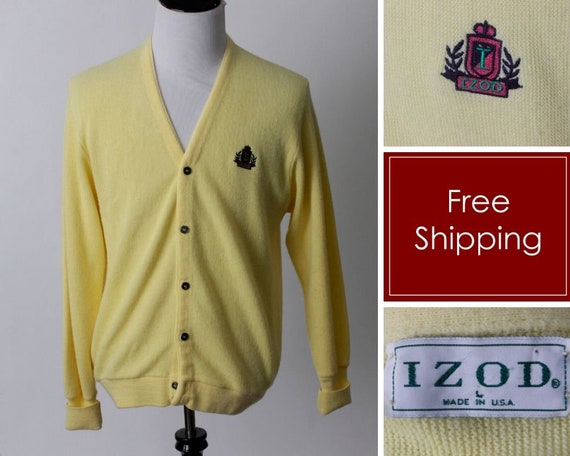 80s Retro Large L Made in the USA Vintage 80s Cardigan Yellow Izod Men/'s Men/'s Women/'s Crest