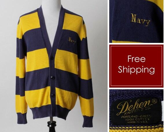 50's Vintage Navy Cardigan US Naval Stripe Sweater