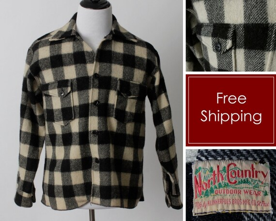 Vintage 40s Plaid Wool Shirt Men's Buffalo Plaid K