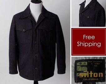 Vintage 70s Silton Mackinaw Cruiser Men's Blue Wool Jacket Coat - 80's Retro Extra Large