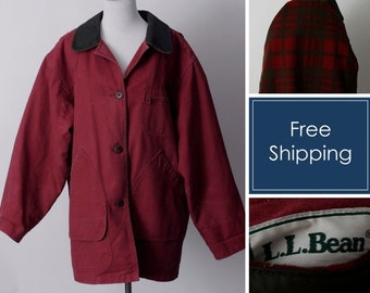 Vintage 90's LL Bean Coat Women's Work Chore Coat Jacket Red Magenta - 90s Retro Large L Extra Large XL