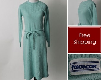 Vintage 80's Dress Women's Soft Seafoam Green Knit Foxmoor - 80's Medium M
