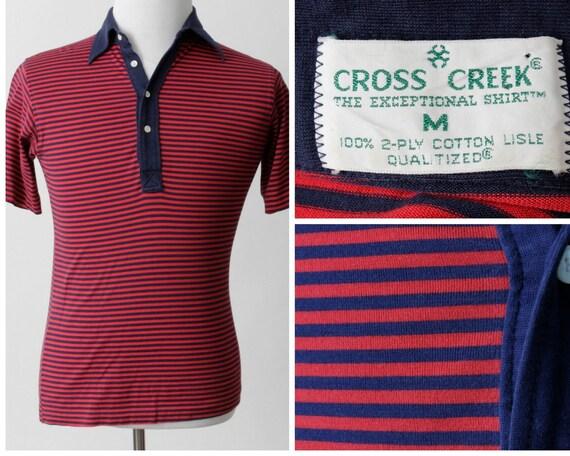 Shirt Stripe Cross Creek Vintage hommes rouge bleu - des années 80 S petit rétro été nautique
