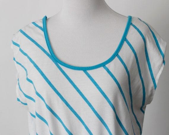 Vintage 80s Romper Women's Blue White Stripe Romp… - image 2