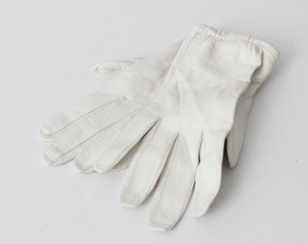 Vintage Gloves Trefousse Real Kid Goat Skin Size 7 Faux Pearl - 80's Retro Riding Made in France