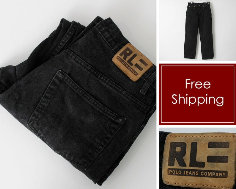4103fa22 Vintage Ralph Lauren Polo Jeans Co Company Black Denim Pants 32 x 30 -  Retro 90's
