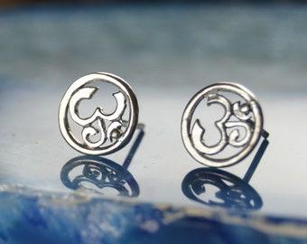 8b28e5444 Sterling Silver OM ohm stud post earrings