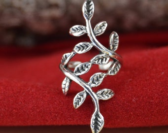 Sterling silver leaves earring cuff