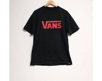 c425d764c8d Vintage Faded VANS Skate Red Big Classic Logo Black T-shirt- Size Men s  Large (Cotton)
