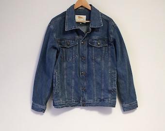 Vintage MGM Grand Las Vegas Blue Jean Denim Men's Jacket w/ Blue Embroidered Lion Logo Rare- Size Men's Large (100 % Cotton) M1G3hqh