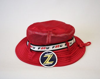 795254451f3a6 Vintage F05U Mesh Top Red Shiny Jersey Bucket Hat by ZCUD (90s-00s