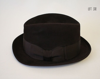 Vintage John B Stetson Selv-Edge 3x Beaver Quality Chocolate Brown Fedora  Size 7 3 8 Hat (can shape into a Stetson Derby Bowler Hat as well) 3fd0173d190a