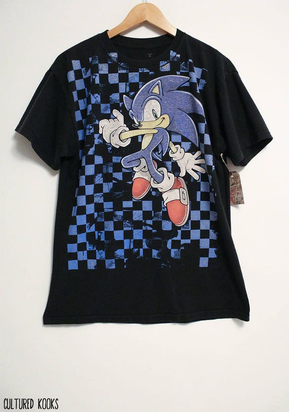09a6a5ede358 Retro Sonic The Hedgehog Checkerboard Sega Black and Blue | Etsy