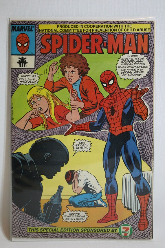 Amazing Spider-Man Giveaway Prevention of Child Abuse- Comic Book (1987,  Sponsored by 7-Eleven)