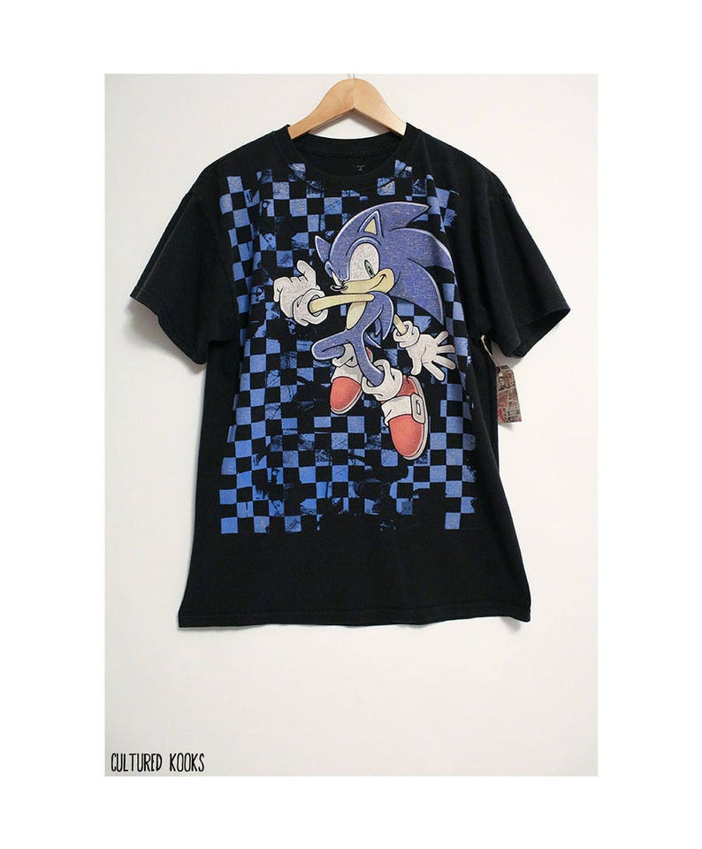 e53be96b8f50 Retro Sonic The Hedgehog Checkerboard Sega Black and Blue image 0 ...