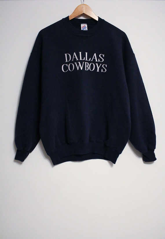 cb90599b Vintage Dallas Cowboys Embroidered Spell-Out Navy Blue Jerzees Sweatshirt-  Size Women's L/XL (Cotton/Polyester)