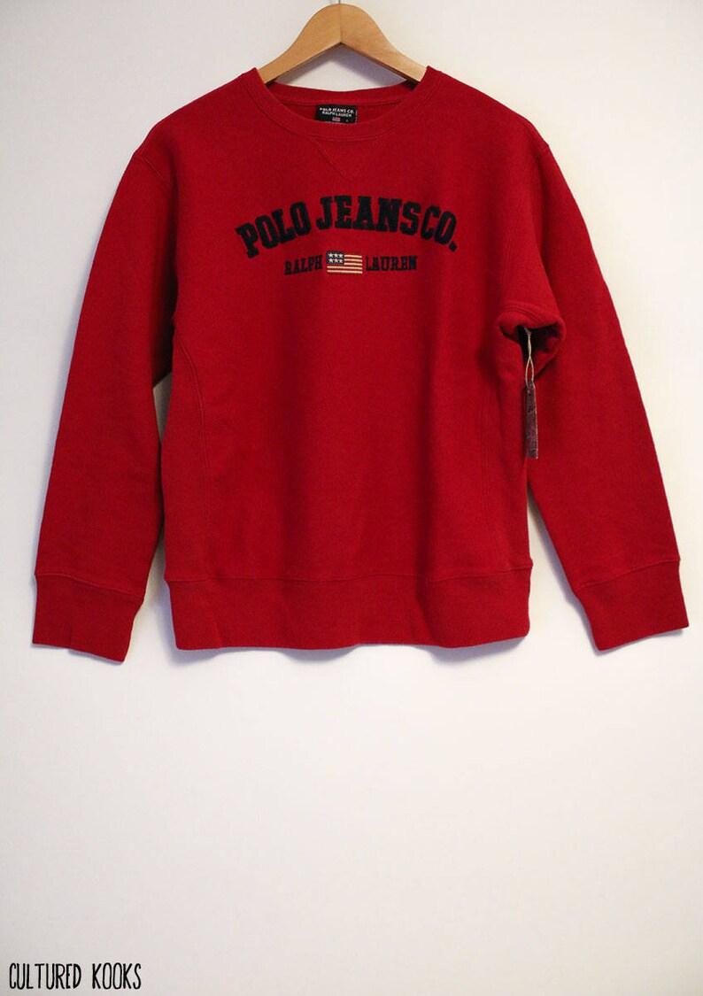 c3997b34e6d0e Vintage 90s Ralph Lauren Polo Jeans Co. w  Flag Embroidered