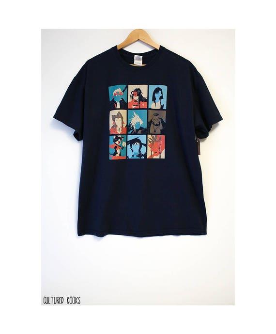 Retro Pop Art Final Fantasy Portraits Navy Blue T Shirt Size Men S Xl Cotton