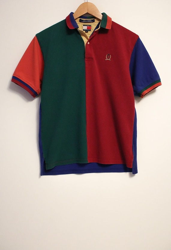 Vintage 90s Tommy Hilfiger Colorful Collared Short Sleeve Polo  33ff48034c