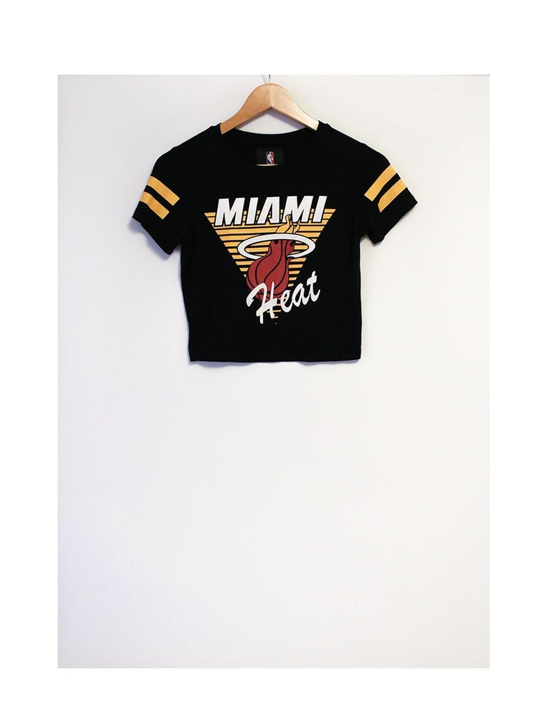 big sale 4a977 a0a20 Retro Miami Heat Stretchy Thin Soft Black Crop Top Miami Heat Cheerleader  Top- Size Women's Small (Cotton)