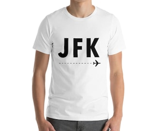 bc97d214 JFK Airport Code Unisex T-Shirt • Travel Gift • Traveler Present •  Adventure Clothes • Hometown City Airport • Black Lettering