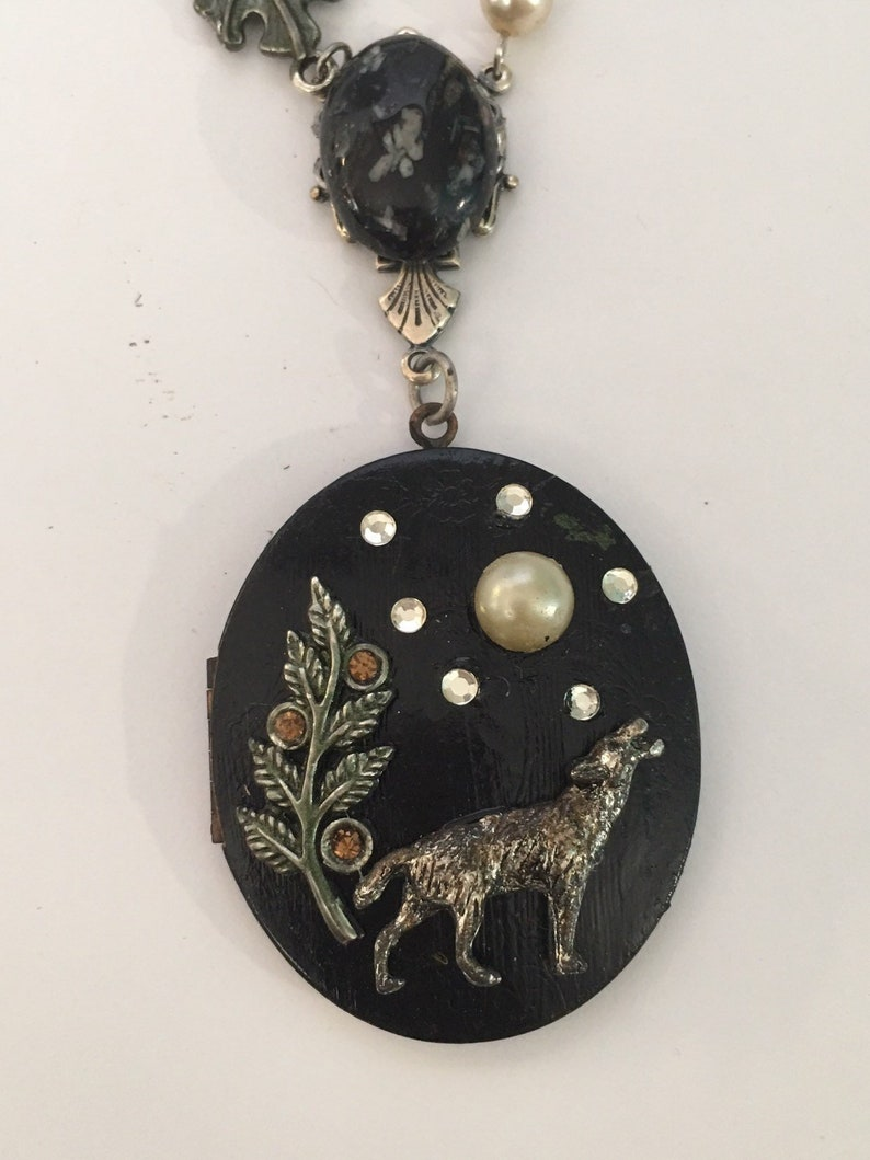 Wolf Mother: Hand Painted Vintage Assemblage Locket with Timber Wolf,  Snowflake Obsidian OOAK by Seditious Jewelry