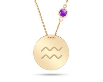 14k Gold Zodiac Aquarius Necklace, Gold Aquarius Pendant, Zodiac Necklace, Gift For Her, Gold Round Plate Engraved Aquarius Zodiac Necklace