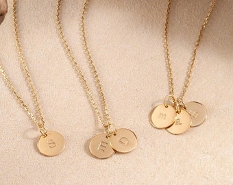 aad4edbe0bae 14K Solid Gold Minimal Initial Disk Necklace, Personalized Dainty 2 side  lowercase and uppercase letter Pendant, Mothers Letter Necklace.