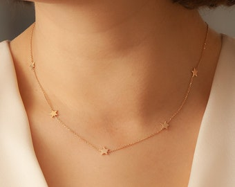 5 Star 14k 18k Solid Gold Necklace, Celestial Dainty Stars Necklace, Station gold star necklace in Yellow White or Rose Gold. Gift for Her.