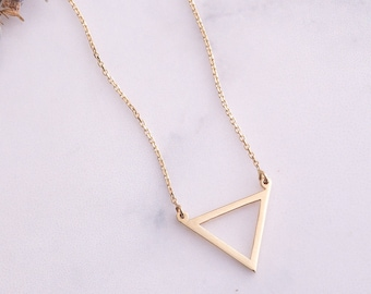 14K Solid Gold Triangle Necklace, Dainty Cutout Triangle Necklace, Minimalist Layered Cute Karma Geometric Tiny Charm Necklace Gift for Her