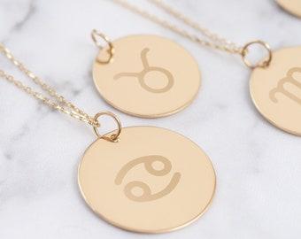 14k Two Tone Gold Open Circle Libra Zodiac Sign Pendant Necklace