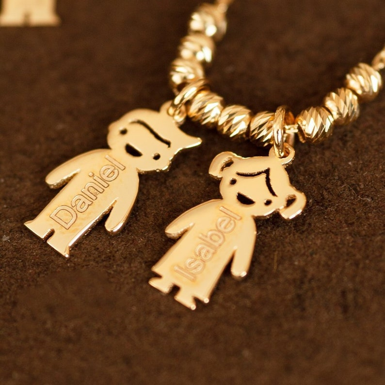 2d7dc131ec85c 14k Gold Mother's Necklace with Engraved 2 Children Charms, Personalized  Family Name Necklace With boy/girl Charms, Mom 3 Kids Gold Charms.