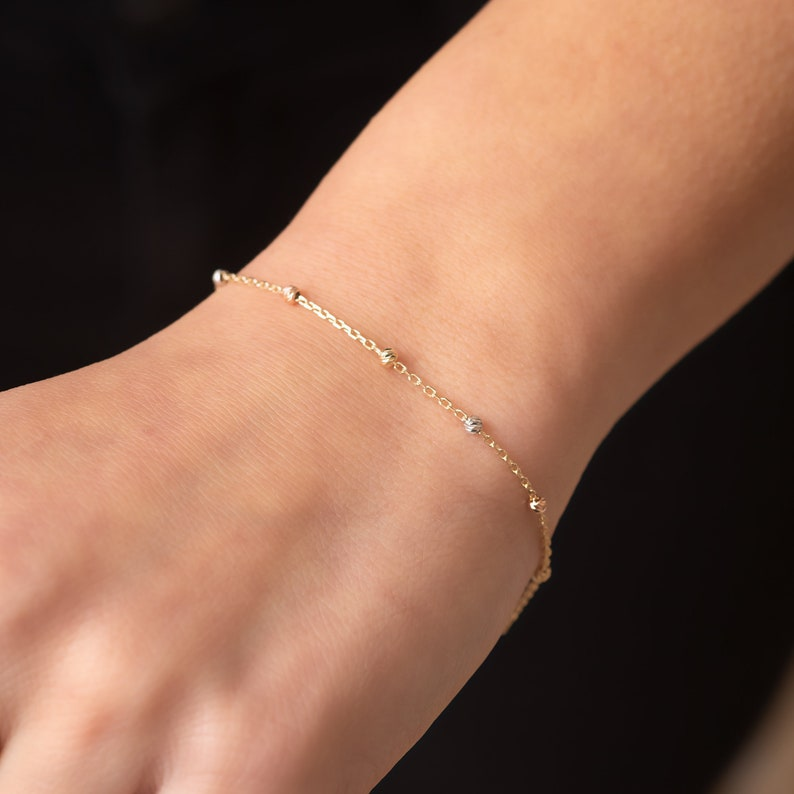 14k Solid Beaded Satellite Bracelet Gift For Mom /& Graduation Gift Yellow 14k Real Gold Round Ball Dainty Bracelet is Great Gift For Her