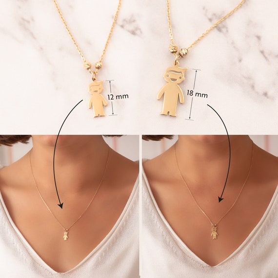 3 4 5 6 Kids 14k Solid Gold Charms Mother\u2019s Necklace Engraved Children Charms Boy Girl Gold Charm Necklace Personalized Family Charms.