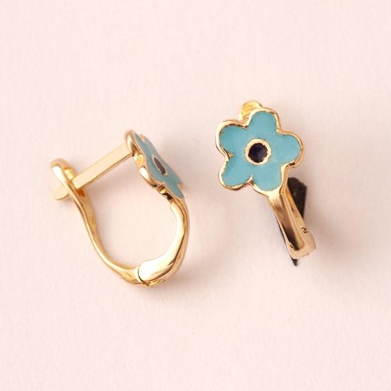 6mm 18K Yellow Gold Blue Enamel Flower Earrings