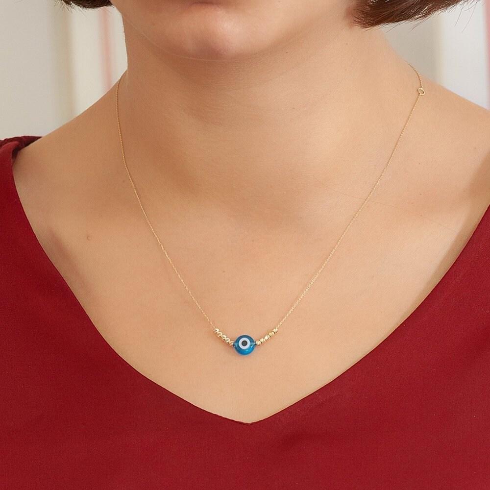 14K Solid Gold Wedding Gift Mini Evil Eye Eye Necklace Birthday Gift. Bridesmaid Gift