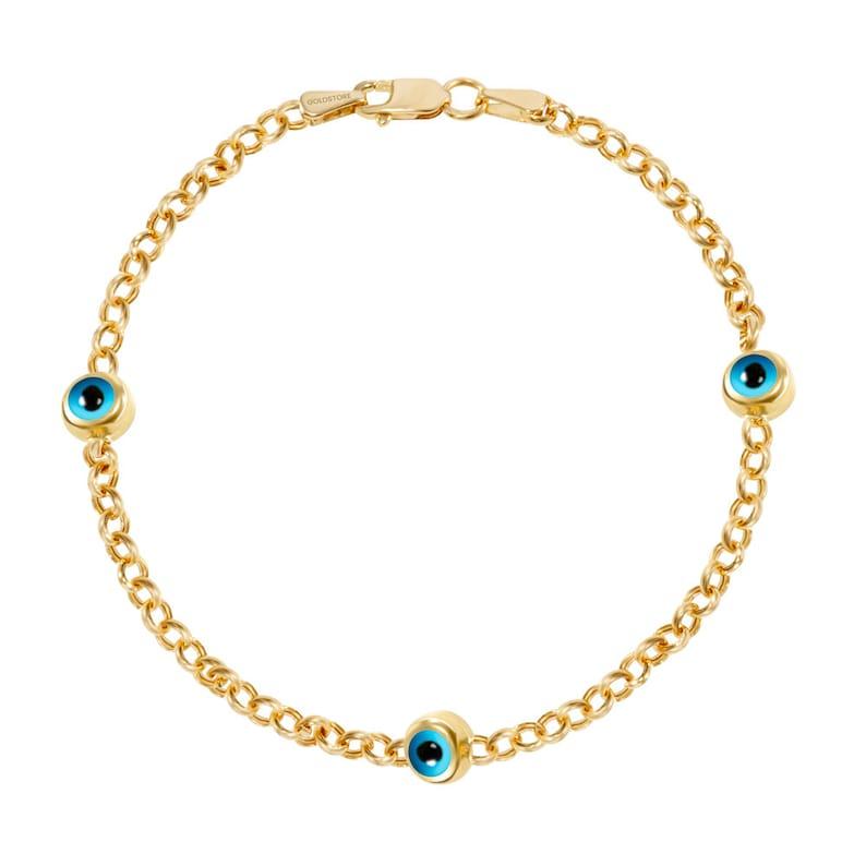 14k Gold Evil Eye Bracelet Evil Eye Rolo Chain Solid Gold Bracelet 1 2 3 4 5 Blue Eyes Real Gold Eye Station Bracelet