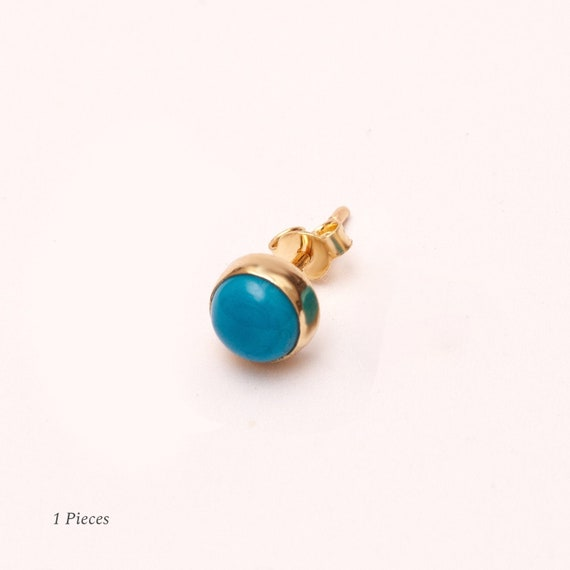 Turquoise SCREW BACK Stud Earrings 6MM P55 Mothers Day Gift Coral 14K Solid Gold Bezel Genuine Onyx