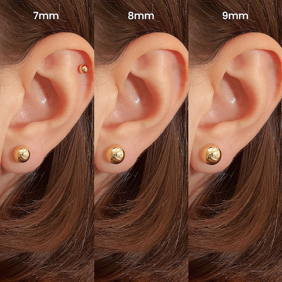14kt Solid Yellow Gold 4mm Round Ball Bead Stud Push Back Earring Kids Stud Gift
