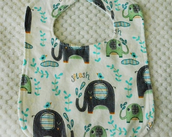 Elephant Print Baby Bib, Elephant Bib, Baby Boy, Gender Neutral, Elephant Baby Bib, Green Bib, Blue Bib, Boys Bib