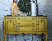 Buffet, Credenza, Dining Room Furniture, Yellow Cabinet, Vintage Hutch